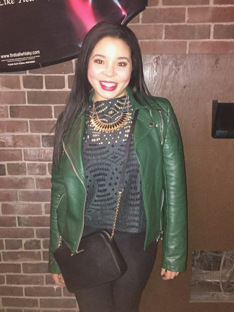 Style with Amanda Joe Fresh green leather jacket Ann Taylor green lace shirt