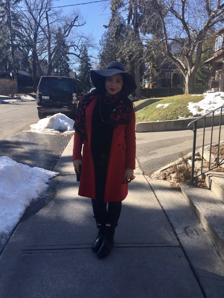Style with Amanda Red Zara Coat Moschino Scarf H&M hat