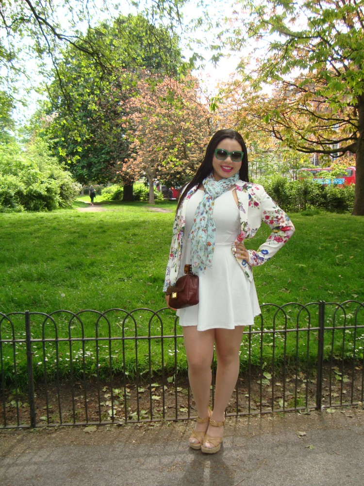 Style with Amanda White H&M Dress Floral Blazer Zara Armani Sunglasses Floral Scarf Indigo Michael Kors Wedges