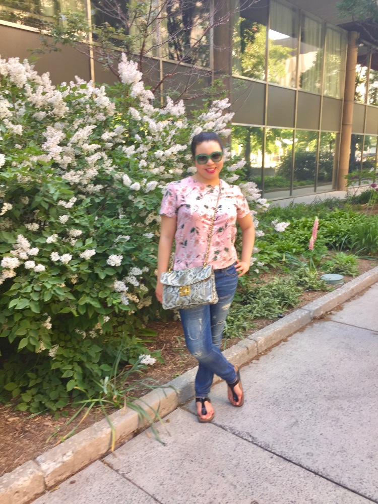 Style-with-Amanda-Joe-Fresh-Floral-T-Shirt-Distressed-Jeans-Armani-Sunglasses-Snakeprint-Purse-2