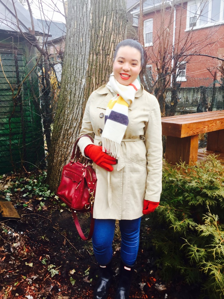 Style-with-Amanda-Joe-Fresh-Trench-Coat-Hudson-Bay-Scarf-Hunter-Boots-Rebecca-Minkoff-Purse-12
