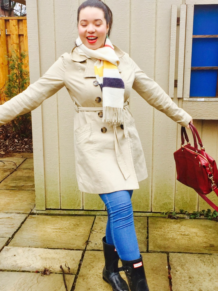 Style-with-Amanda-Joe-Fresh-Trench-Coat-Hudson-Bay-Scarf-Hunter-Boots-Rebecca-Minkoff-Purse-2