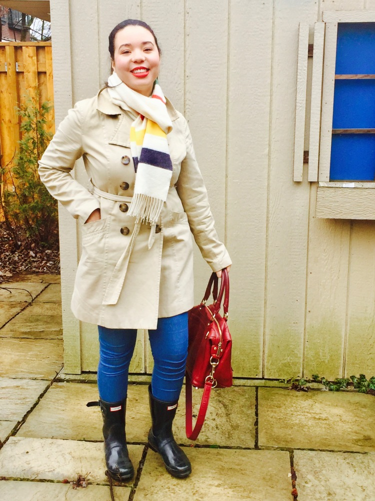 Style-with-Amanda-Joe-Fresh-Trench-Coat-Hudson-Bay-Scarf-Hunter-Boots-Rebecca-Minkoff-Purse-3