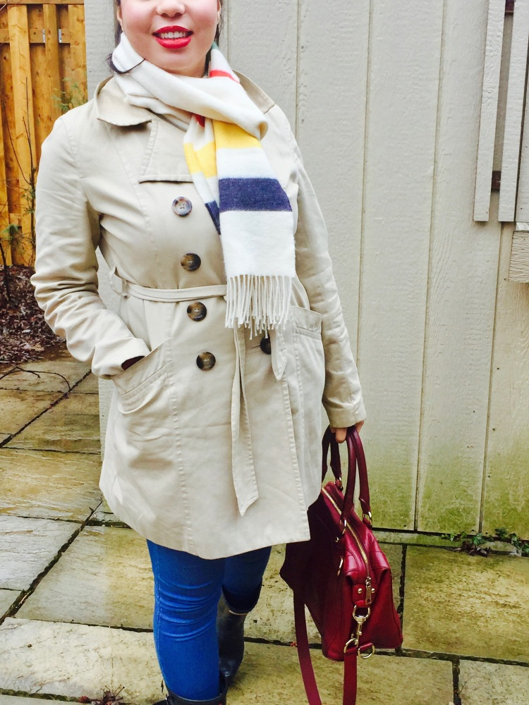 Style-with-Amanda-Joe-Fresh-Trench-Coat-Hudson-Bay-Scarf-Hunter-Boots-Rebecca-Minkoff-Purse-4