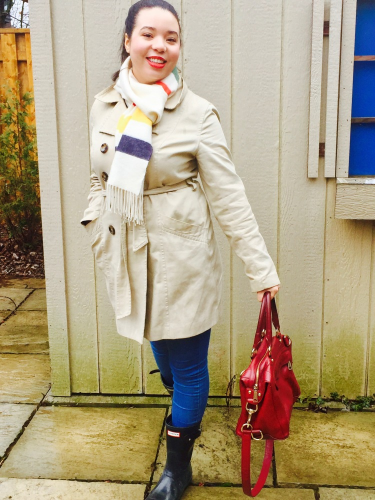 Style-with-Amanda-Joe-Fresh-Trench-Coat-Hudson-Bay-Scarf-Hunter-Boots-Rebecca-Minkoff-Purse-5