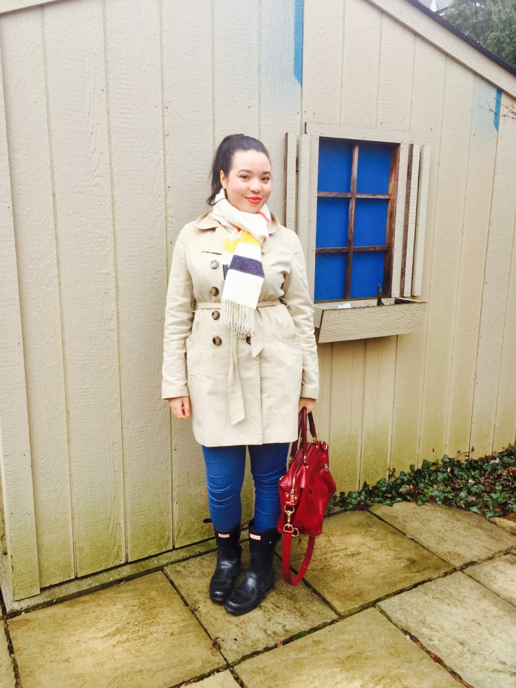 Style-with-Amanda-Joe-Fresh-Trench-Coat-Hudson-Bay-Scarf-Hunter-Boots-Rebecca-Minkoff-Purse-7