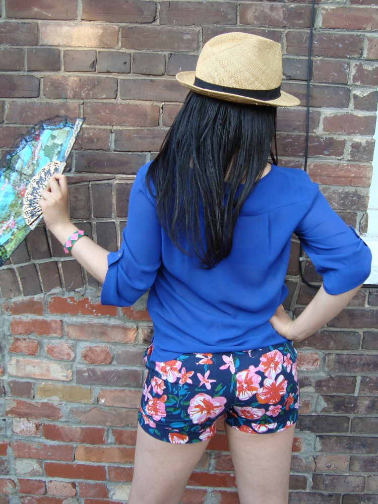 Style-with-Amanda-Joe-Fresh-Cobalt-Blouse-Floral-Shorts-Straw-Fedora-1