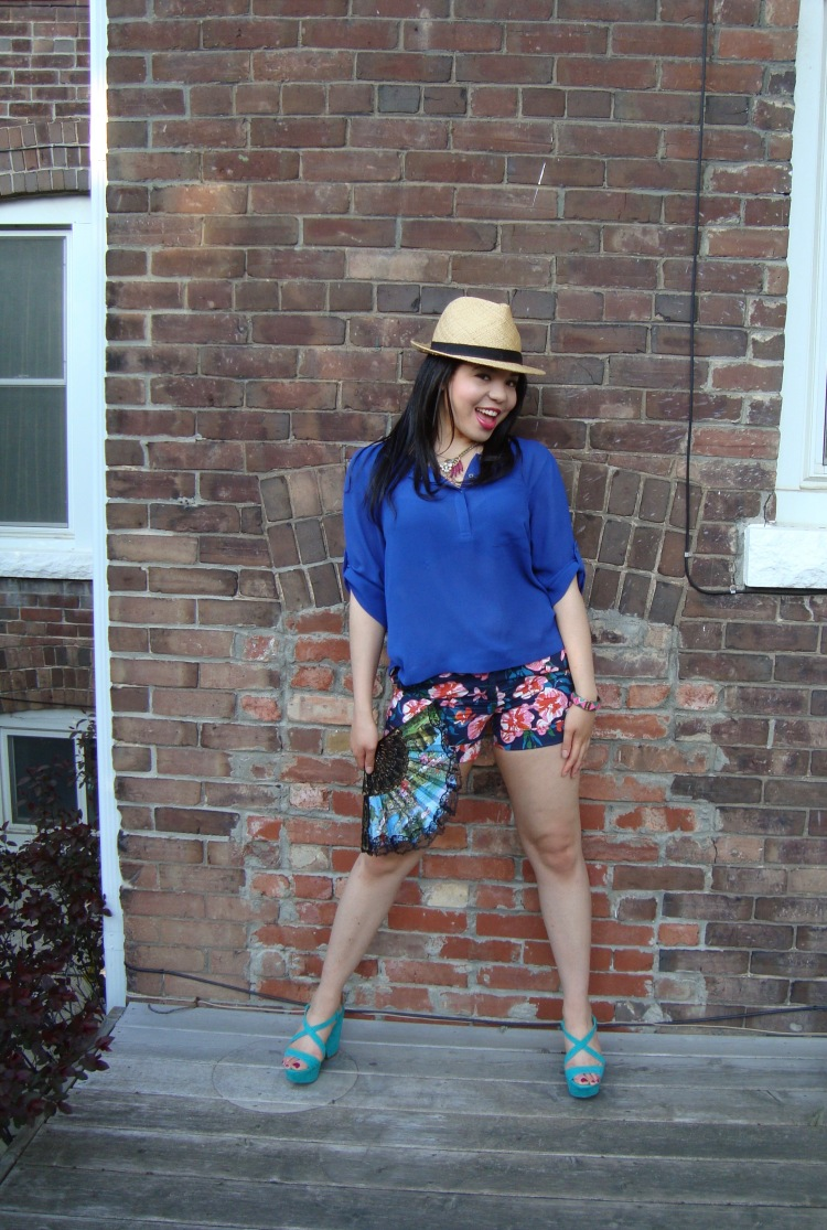 Style-with-Amanda-Joe-Fresh-Cobalt-Blouse-Floral-Shorts-Straw-Fedora-10