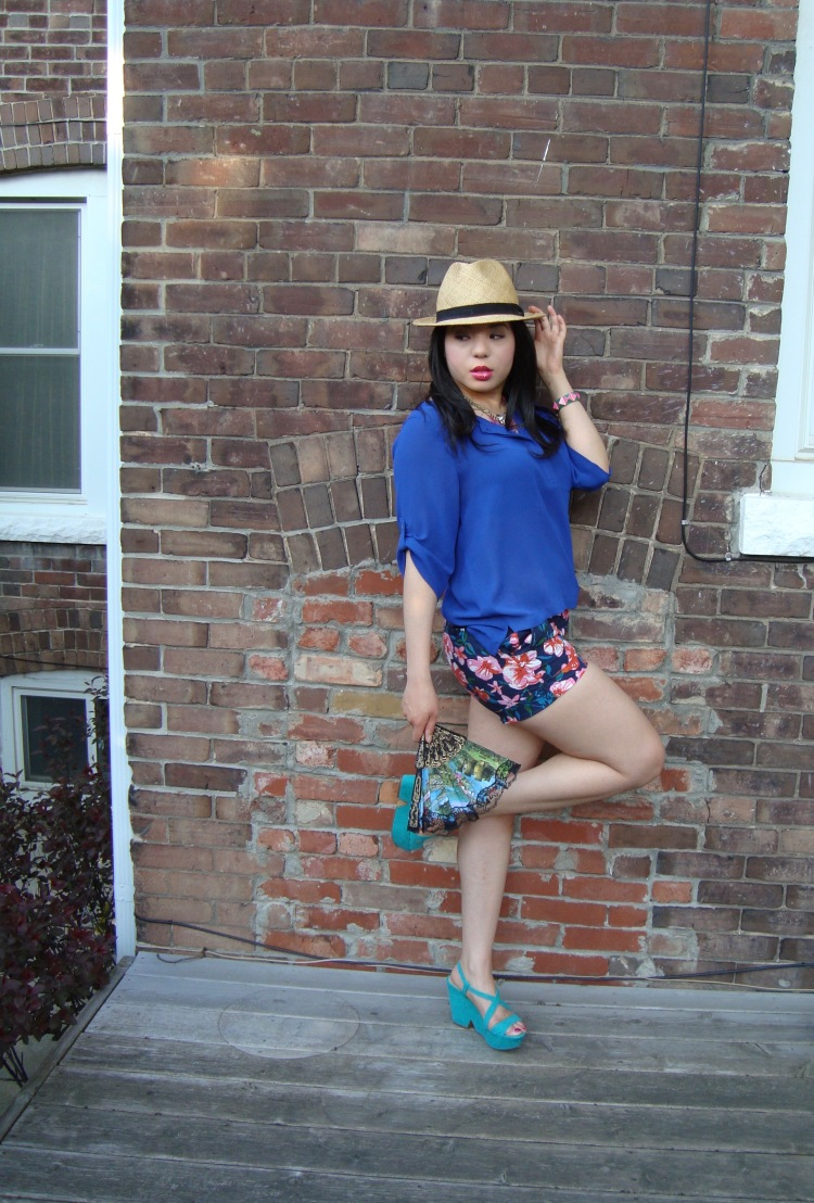 Style-with-Amanda-Joe-Fresh-Cobalt-Blouse-Floral-Shorts-Straw-Fedora-11