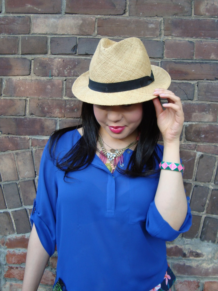 Style-with-Amanda-Joe-Fresh-Cobalt-Blouse-Floral-Shorts-Straw-Fedora-13