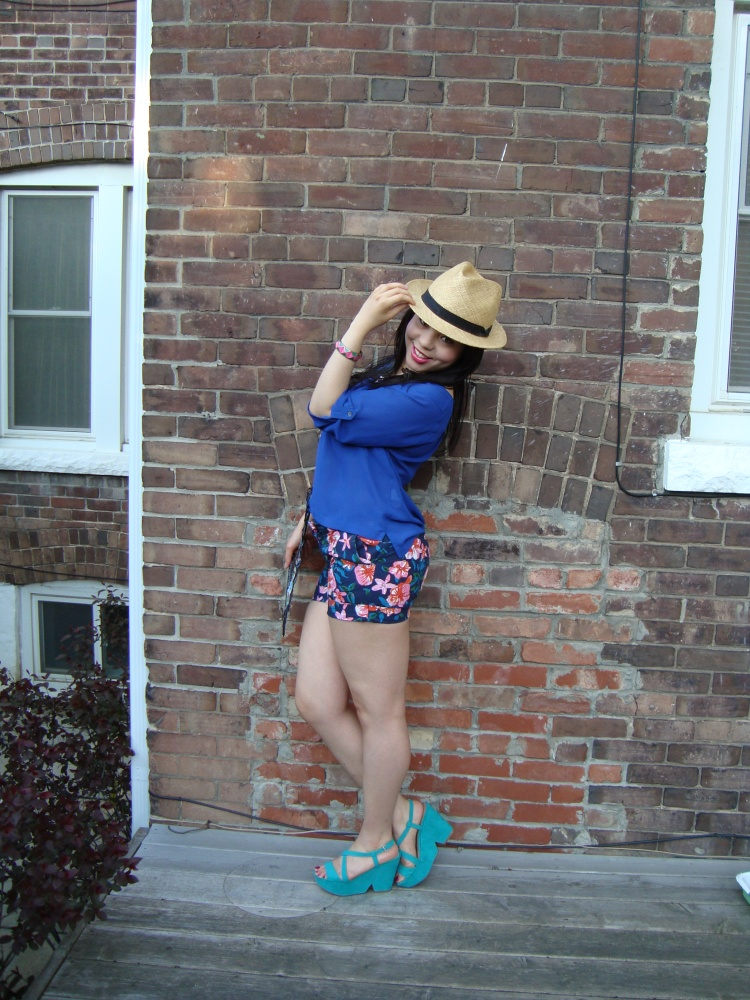 Style-with-Amanda-Joe-Fresh-Cobalt-Blouse-Floral-Shorts-Straw-Fedora-2