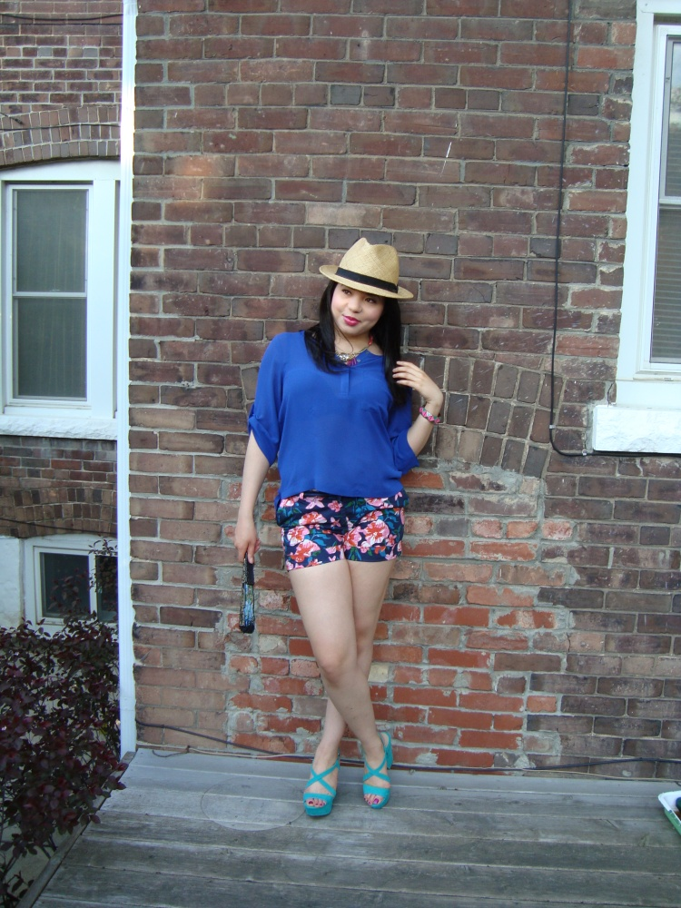 Style-with-Amanda-Joe-Fresh-Cobalt-Blouse-Floral-Shorts-Straw-Fedora-3
