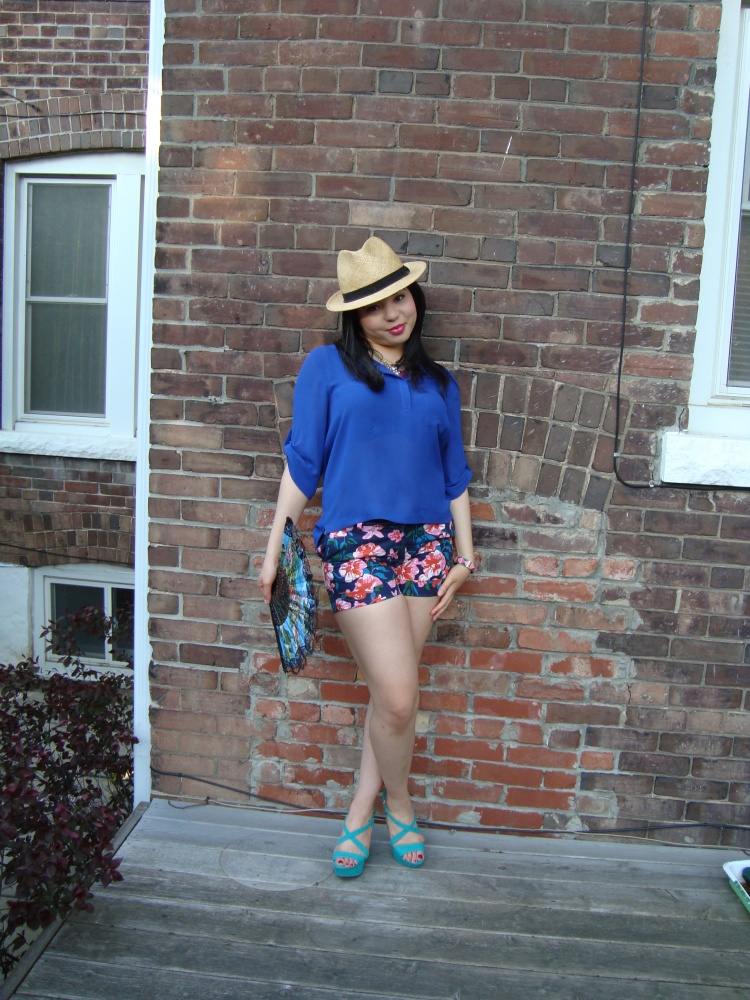 Style-with-Amanda-Joe-Fresh-Cobalt-Blouse-Floral-Shorts-Straw-Fedora-4