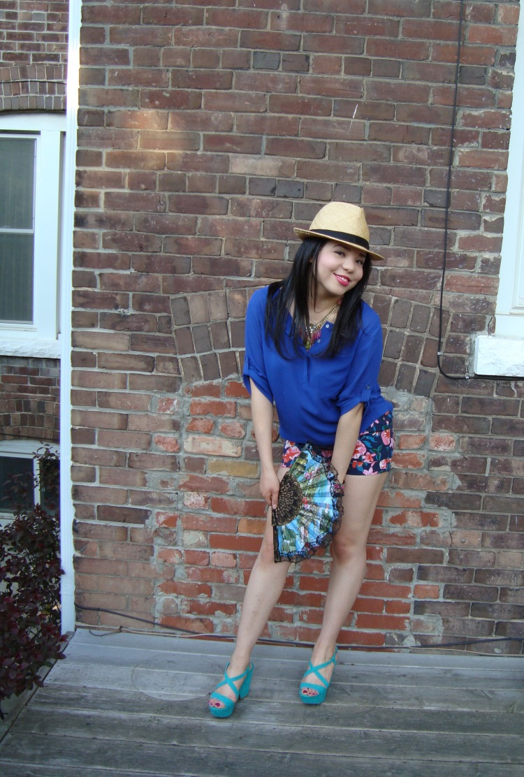 Style-with-Amanda-Joe-Fresh-Cobalt-Blouse-Floral-Shorts-Straw-Fedora-5