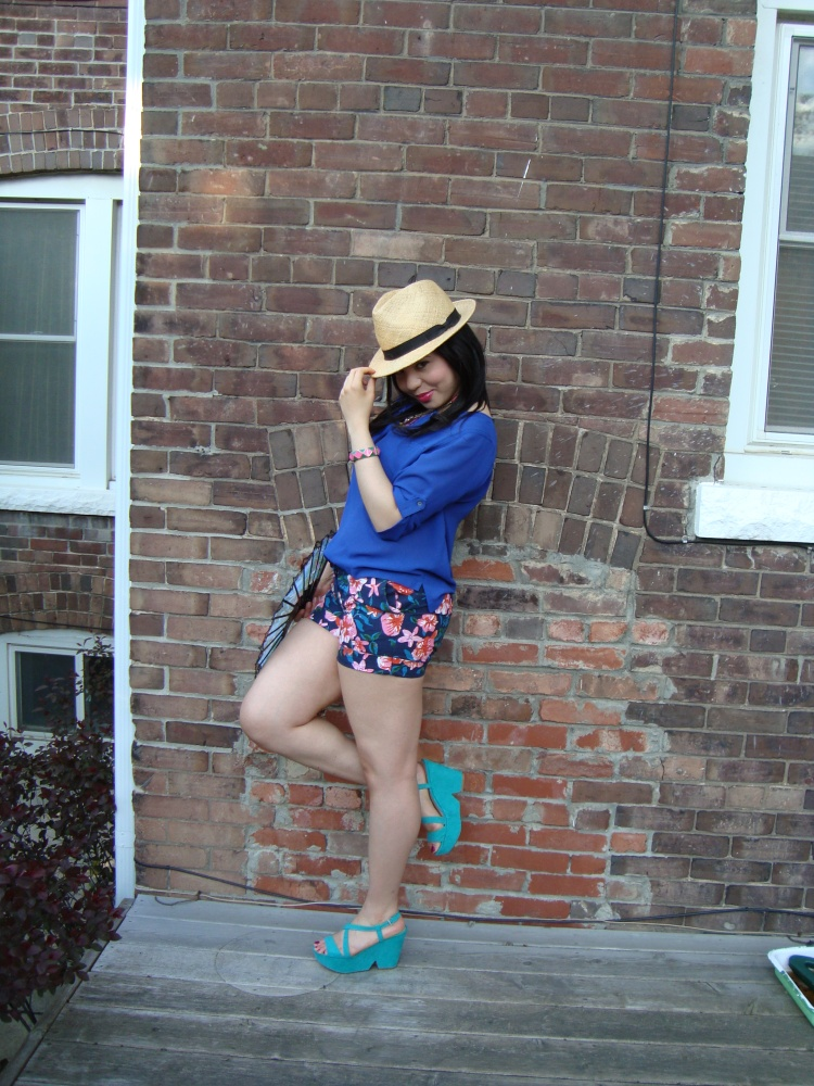 Style-with-Amanda-Joe-Fresh-Cobalt-Blouse-Floral-Shorts-Straw-Fedora-8
