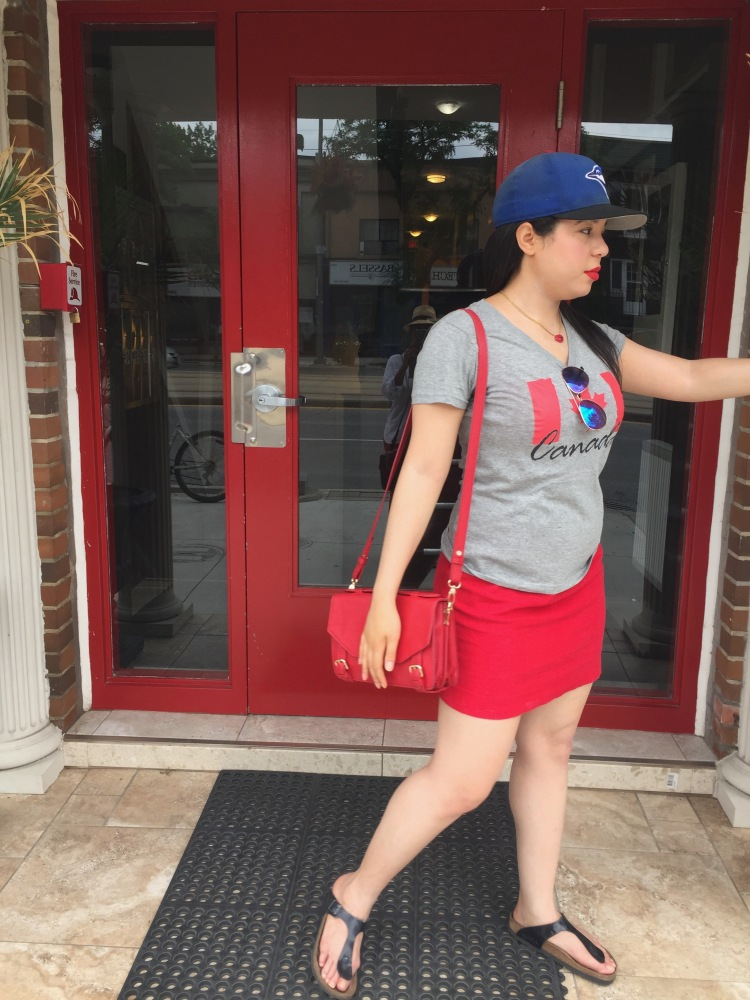 Style-with-Amanda-Canada-Day-150-Style-Red-Dress-Urban-Outfitters-Canada-Day-T-Shirt-Blue-Jays-Baseball-Hat-Birkenstocks-Aviators-Red-Lipstick-Sephora-Cream-Lip-Stain-11