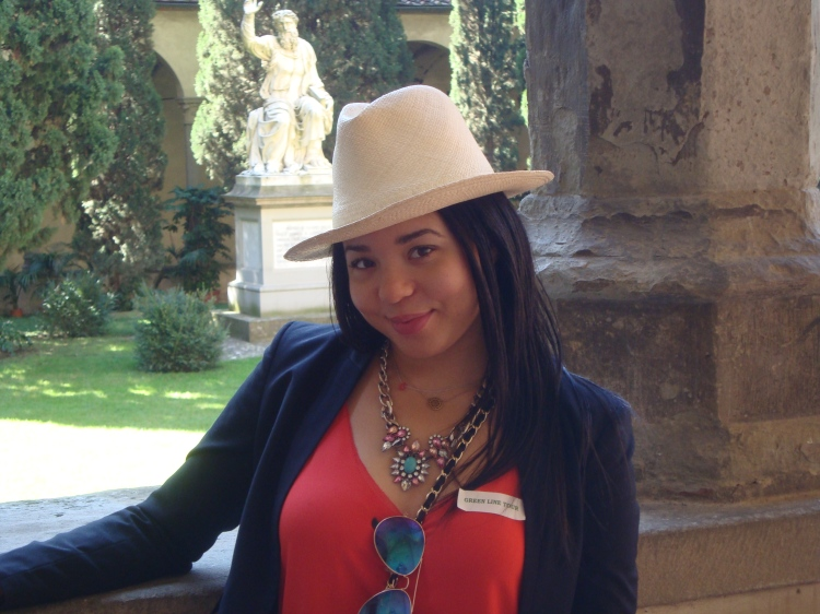 Style-with-Amanda-Italy-Vacation-Florence-Club-Monaco-Orange-Blouse-HM-Blazer-HM-Silk-Green-Pants-Straw-Fedora-2