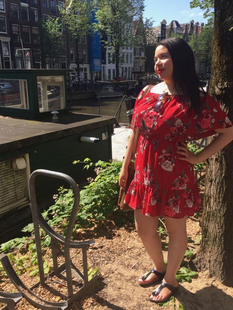 Style-with-Amanda-Red-Floral-Off-the-Shoulder-Dress-Dynamite-Black-Birkenstocks-Amsterdam-Vacation-2