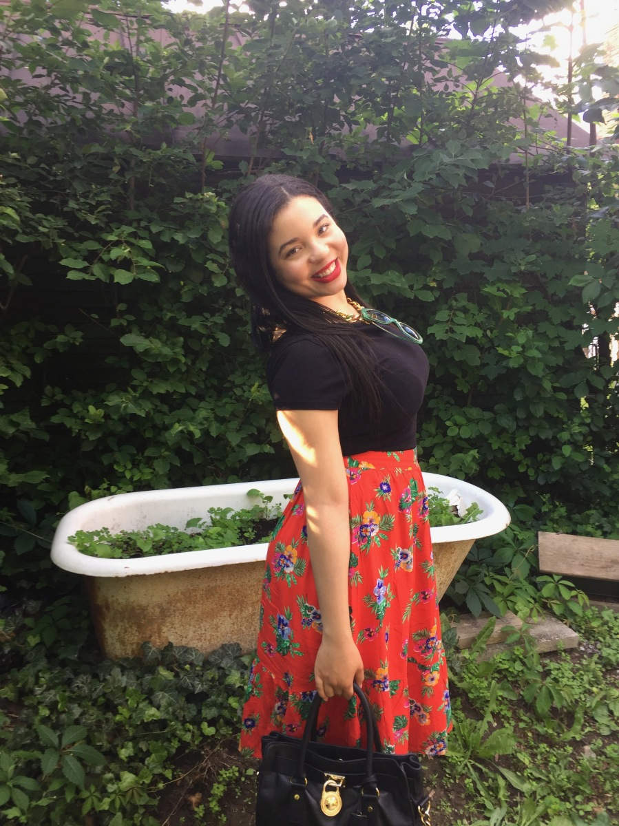 A Red Floral Skirt From Summer to Fall