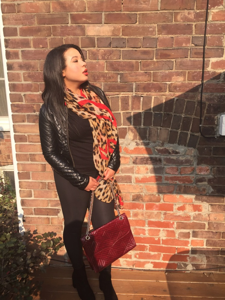 Style-with-Amanda-Outfit-Inspiration-Animal-Print-Scarf-Quilted-Faux-Leather-Jacket-Rebecca-Minkoff-Oxblood-Handbag-1