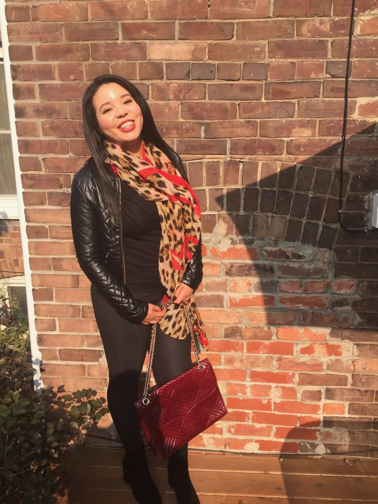Style-with-Amanda-Outfit-Inspiration-Animal-Print-Scarf-Quilted-Faux-Leather-Jacket-Rebecca-Minkoff-Oxblood-Handbag-2