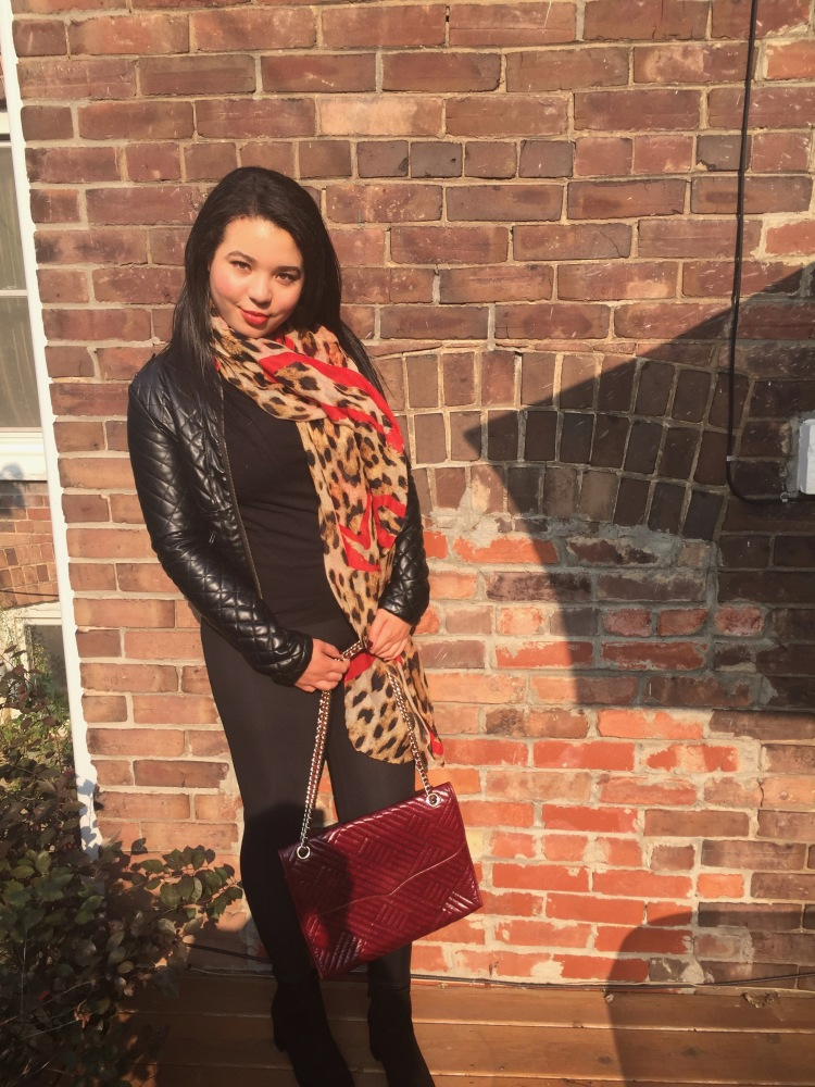 Style-with-Amanda-Outfit-Inspiration-Animal-Print-Scarf-Quilted-Faux-Leather-Jacket-Rebecca-Minkoff-Oxblood-Handbag-3