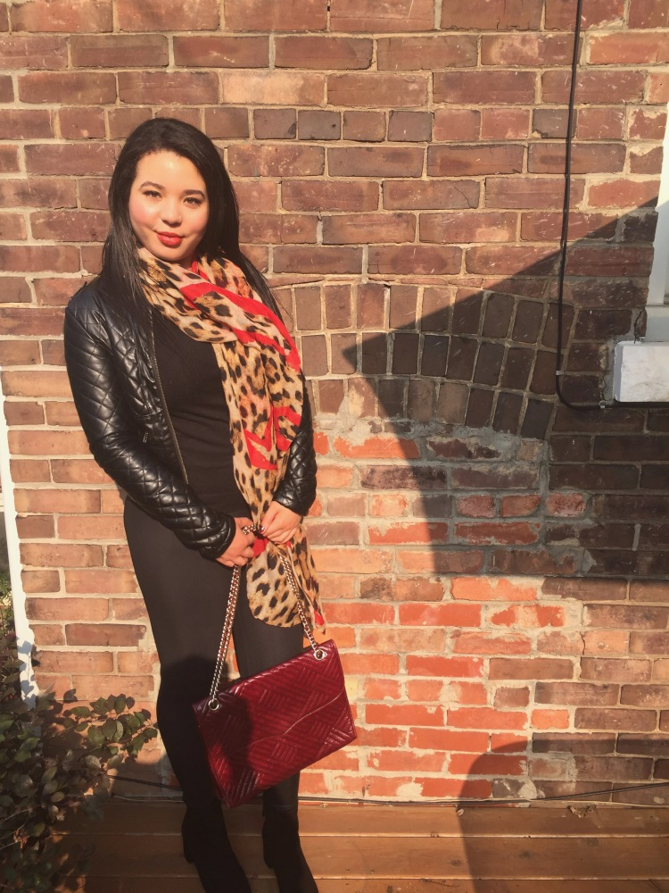 Style-with-Amanda-Outfit-Inspiration-Animal-Print-Scarf-Quilted-Faux-Leather-Jacket-Rebecca-Minkoff-Oxblood-Handbag-4