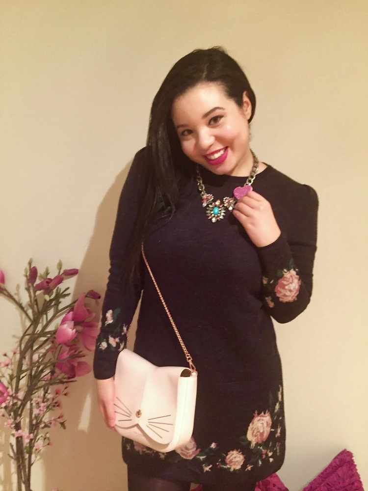 Style-with-Amanda-Club-Monaco-Cashmere-Floral-Dress-Pink-Cat-Ted-Baker-Purse-HM-Statement-Necklace-5