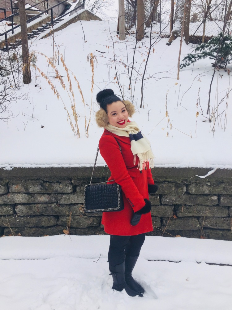 Style-with-Amanda-Red-Zara-Coat-Hudsons-Bay-Scarf-Black-Chainlink-Zara-Bag-2